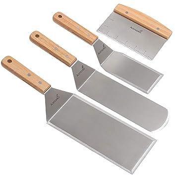 Juego de espátula de metal de acero inoxidable - Espátulas de Tepaniyaki plana cortavientos - utensilio