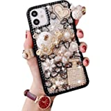 Artfeel Bling Case Compatible with iPhone 12/iPhone 12 Pro,3D Glitter Clear Sparkle Crystal Pearl Rhinestone Pumpkin Car…