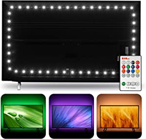 Hamlite TV LED Backlight for 60 65 inch TVs, RGBW 6500K True White, 14.8ft USB LED Strip covers 4/4 Sides of 60 65 Inch HDTV, W-shape Easy-curve Design TV Bias Lighting with RF Remote for Home Theater