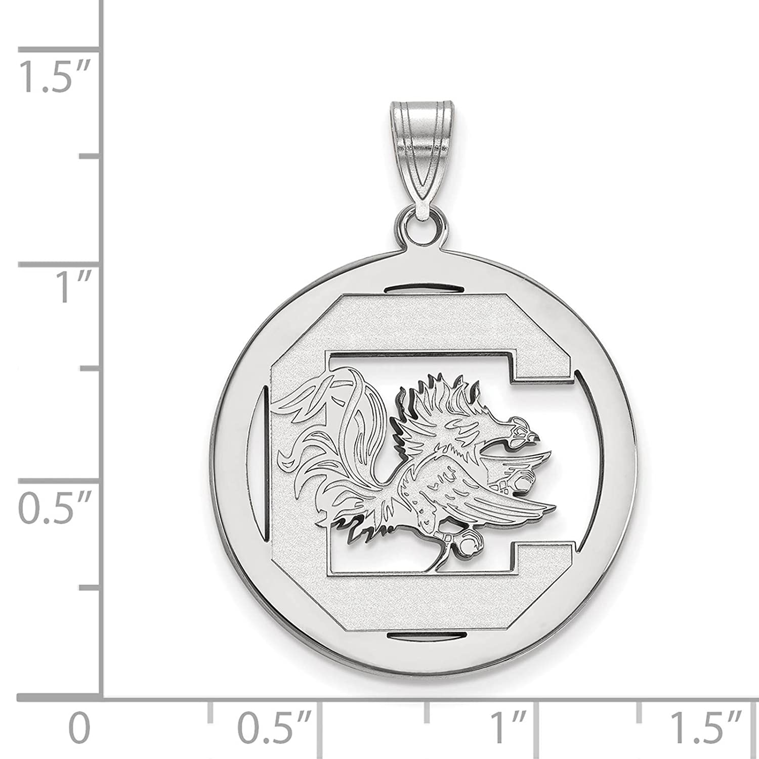 925 Sterling Silver Rhodium-plated Laser-cut University of South Carolina Large Circle Pendant
