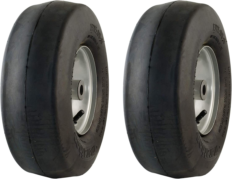 MARASTAR 20302-2pk Universal Fit 13x5.00-6 Lawnmower Tire/Wheel Assembly, Black