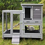 Aivituvin Rabbit Hutch Bunny Hutch Large Rabbit Cage, Indoor Bunny Cage Outdoor Rabbit House