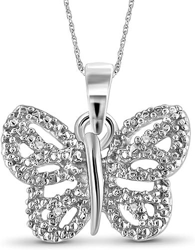 Jewelexcess Accent White Diamond Sterling Silver Flip-Flop Pendant
