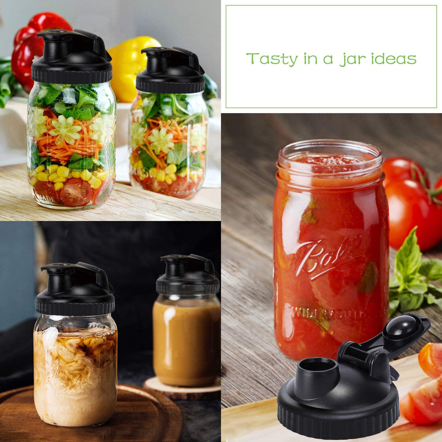 Mason Jar Lids Spill Proof and Made with Safe Regular Mouth Serving and Storage No-Break Materials 4 Pack ball jars lid for Preparing