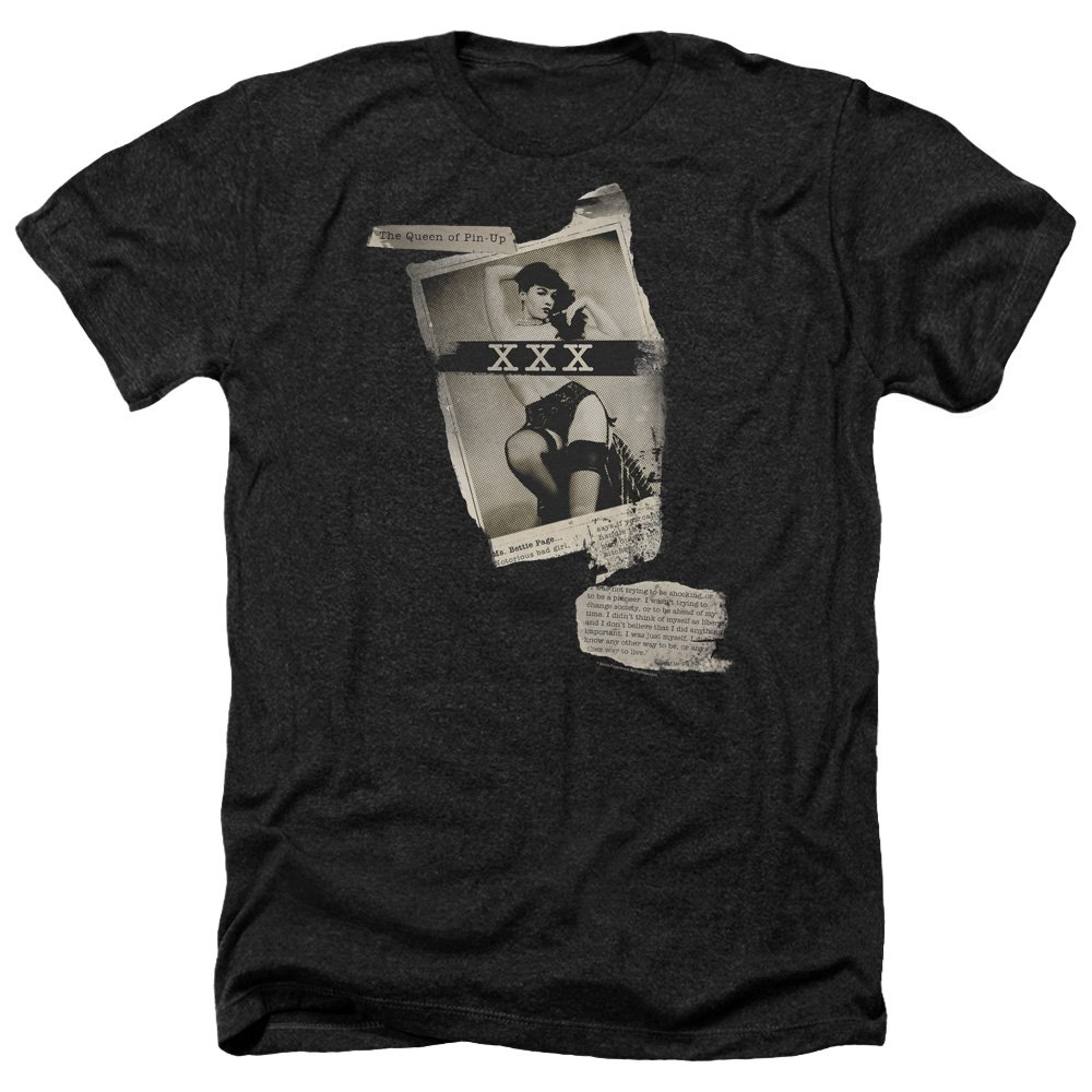 Bettie Page S Newspaper Lace Heather T Shirt 8381