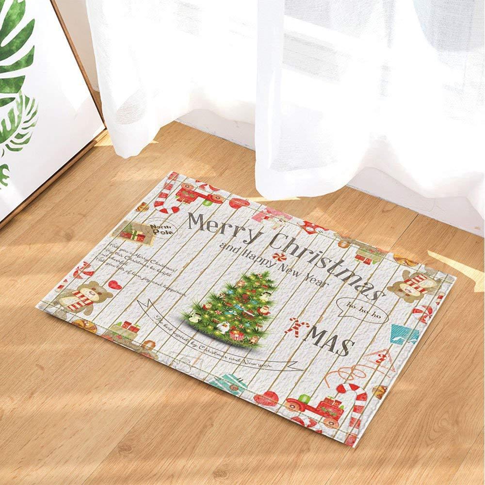 15,7 x 23,6 cm tappetino antiscivolo per pavimento tappetino da bagno Tappeto da bagno con motivo natalizio su albero di Natale in legno per feste ingresso porta di casa BuEnn