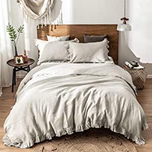 Simple&Opulence 100%Washed Linen Duvet Cover Set-Twin Size-2 Pieces Premium Ruffled Bedding with 1 Comforter Cover and 1 Pillowsham France Flax High End Frill Sets Farmhouse Style,Natural Linen