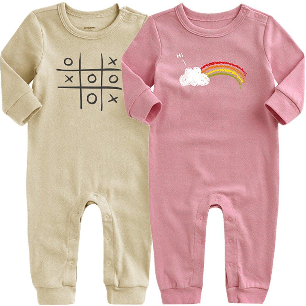 Minizone Lot de 2 Pyjama Bébé Combinaisons en Coton Grenouillères Fille Garçon Bodys à Manches Longues Shenzhen Windy Trading Co. Ltd