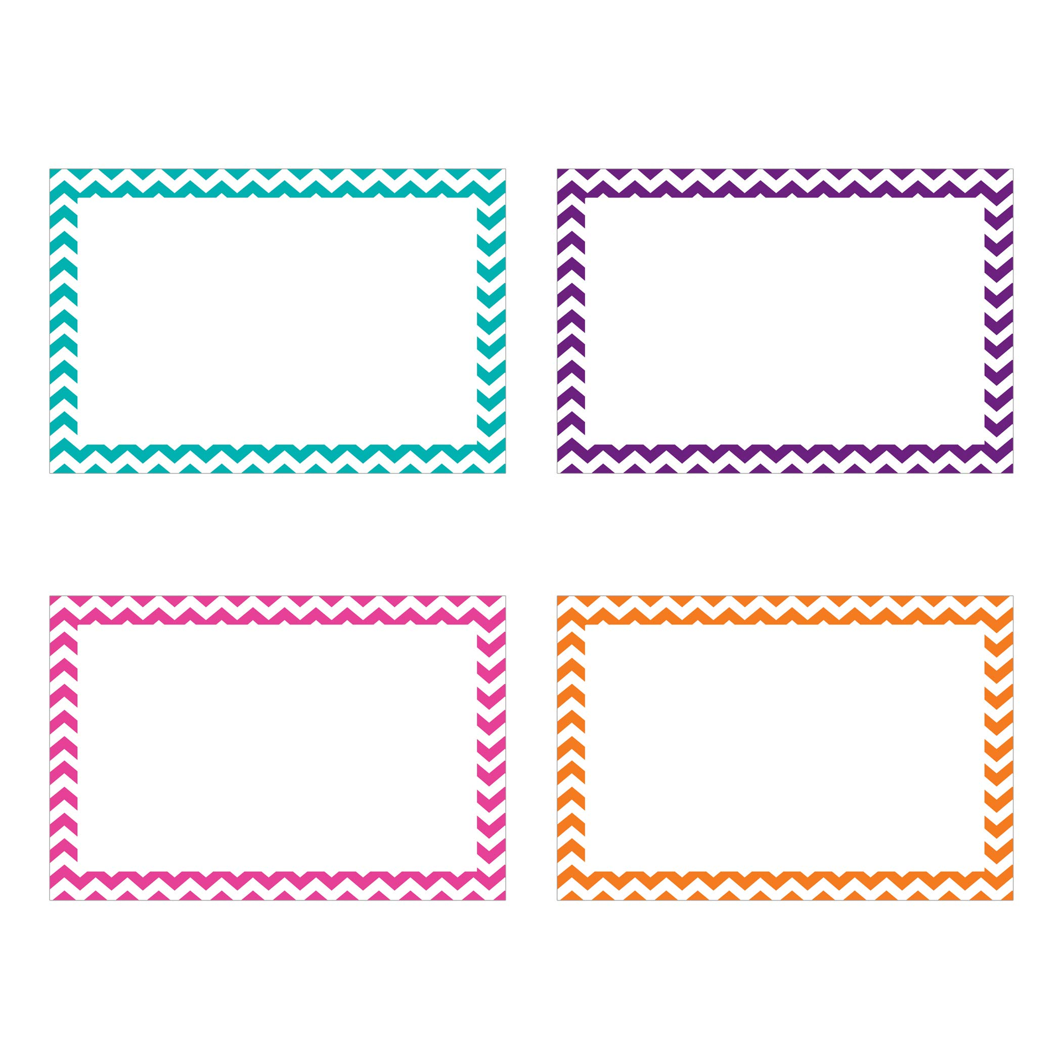Top Notch Teacher Products TOP3553BN Border Index Cards, 4'' x 6'' Blank, Chevron Assorted, 75 Per Pack, 6 Packs