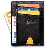 Porta Carte di Credito Uomo Slim in Pelle Protezione RFID, Portafoglio Uomo Piccolo Sottile, Idee per Regali Originali, Porta Documenti e Tessere