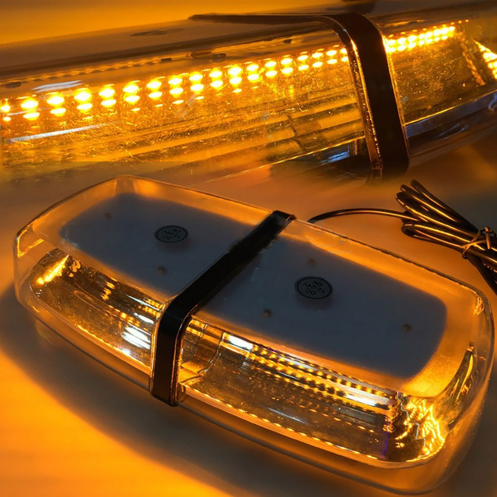 LED law enforcement emergency hazard warning Light-72W 72-LED Waterproof High Intensity Amber Strobe Lights with Magnetic Base 12/24V(1 PCS) Auovo