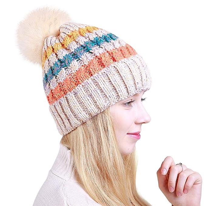 Amazon.com  LLmoway Women Fleece Knit Hat Soft Warm Chunky Slouchy ... 91185af4c28