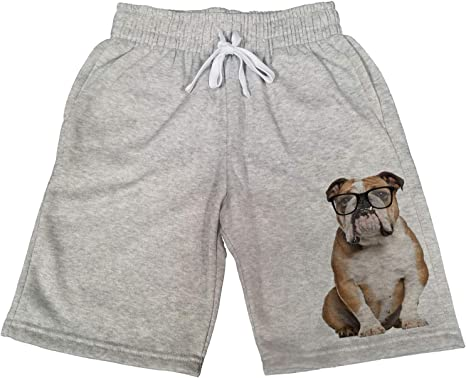 Amazon Com Pantalones Cortos Para Hombre Nerdy English Bulldog B1319 De Forro Polar Gris Clothing