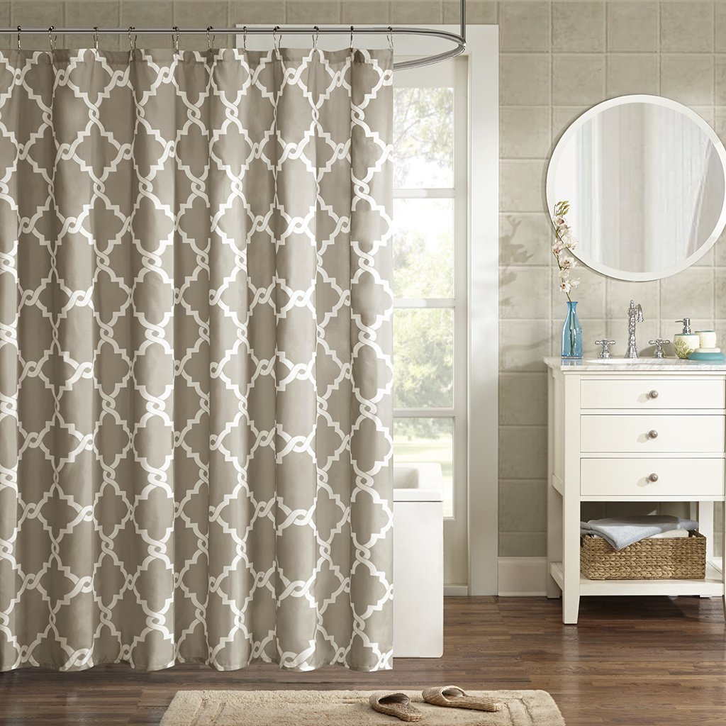 olive printed curtains curtain taupe bedding shower essentials bath madison park barret product