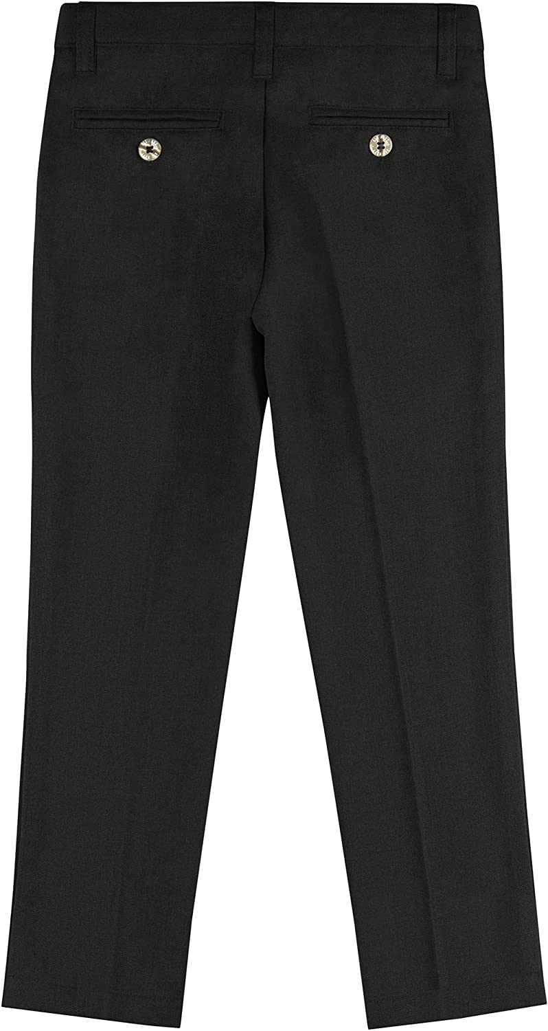 Buyless Fashion Boys Pants Flat Front Slim Fit Polyester Formal Solid Color