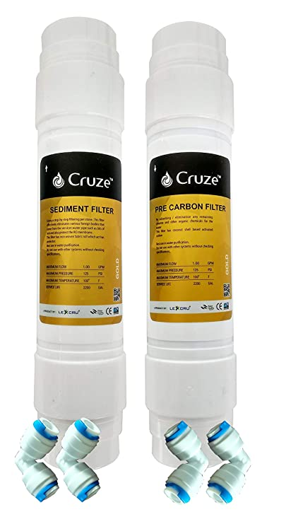 Lexcru CRUZE Gold Pre-Carbon Filter, Sediment Filter with 4 Piece Connectors for RO Water Purifier