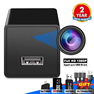 Spy Camera USB Phone Charger by WEMLB -1080p HD Hidden Camera, Wall Plug USB Charger [Motion Detection, AC Adapter] Nanny Camera |Home, Kids, Baby, Pet Monitoring cam