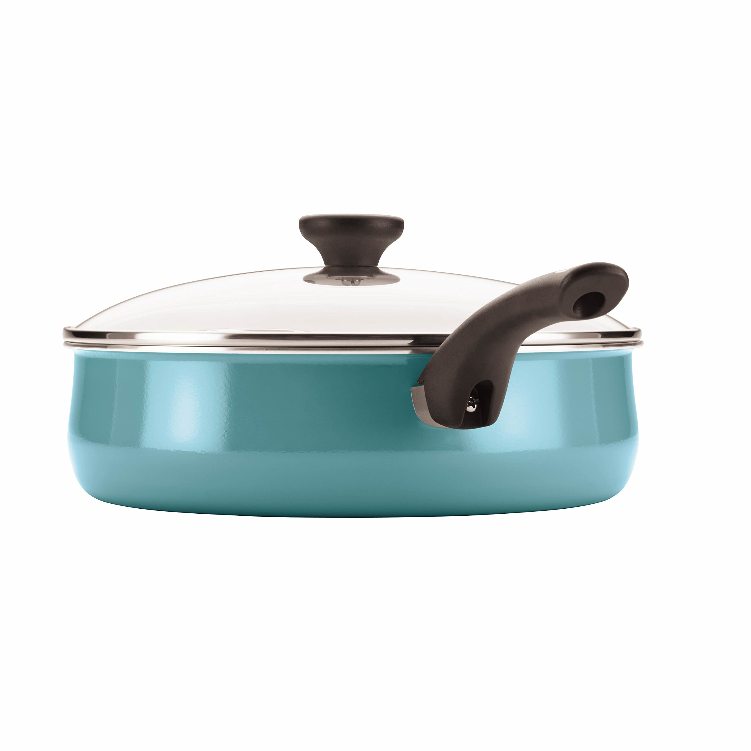 Farberware PURECOOK Ceramic Nonstick Cookware 5-Quart Covered Jumbo Cooker with Helper Handle, Aqua by Farberware (Image #2)