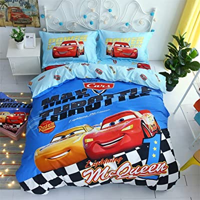 Casa 100% Cotton Kids Bedding Set Boys Lightning McQueen and Cruze Ramirez Blue Duvet Cover and Pillow case and Flat Sheet,3 Pieces,Twin: Home & Kitchen