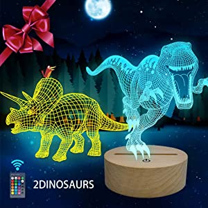 Huaker 3D Dinosaur Night Light for Kids, 3D Illusion Lamp 2 Different Acrylic Dinosaur and 7 Color Change Decor Lamp with Remote Control for Living Bed Room for Boys and Girls Birthday Gifts(Wood)
