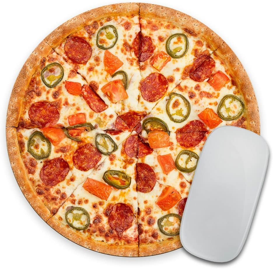 I Love Pizza - Circle Mouse Pad - Mousepad - Coworker Teacher Gift Cheesy Pepperoni - Funny - Realistic - Food