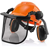 Chainsaw Helmet with Face Shield and Ear Muffs, Forestry Professional Helmet with Visor Combo Set, Helmet for Chainsaw Use, R