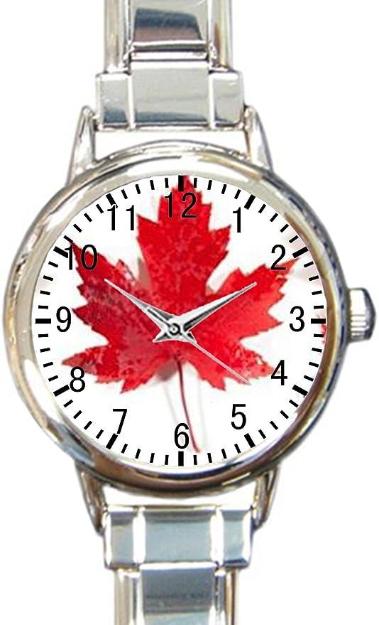 Bandera Canadiense Rojo Hojas de Arce Custom para Mujer Redondo ...