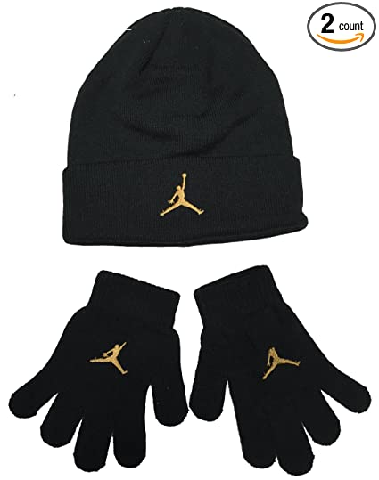 ef3c899dadaa Amazon.com  Nike Air Jordan Boys Winter Hat Beanie Cap Gloves Set  Black Gold 8 20  Sports   Outdoors