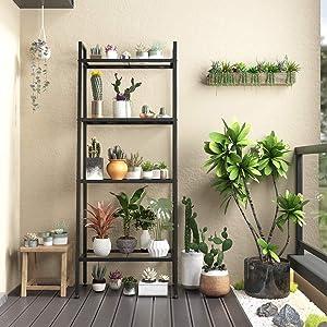 NATRKE 4 Tier Bookshelf, Metal Ladder Shelf, Freestanding Storage Shelves, Storage Rack Shelf for Office, Bathroom, Living Room,Black
