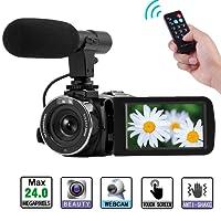 Caméscope Full HD 1080P Appareil Photo Numérique WiFi IR Vision Nocturne Fonction Caméra Vidéo Vlogging Caméra Microphone Externe
