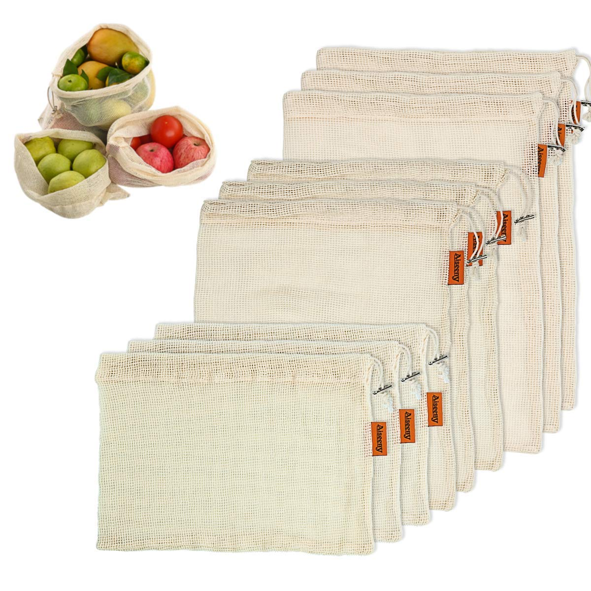 Organic Cotton Mesh Rusaeble Produce Bags