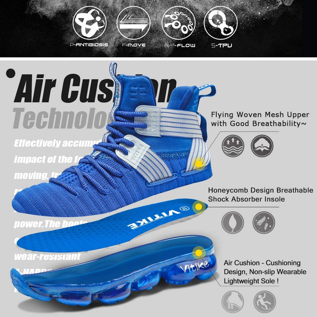 WETIKE Kids Basketball Culture Shoes Boys Air-Cushion Comfortable Girls Basketball Shoes Breathable Casual Fashion Kids Shoes Non-Slip Boys Shoes Durable High Tops for Boys Size 7 Blue