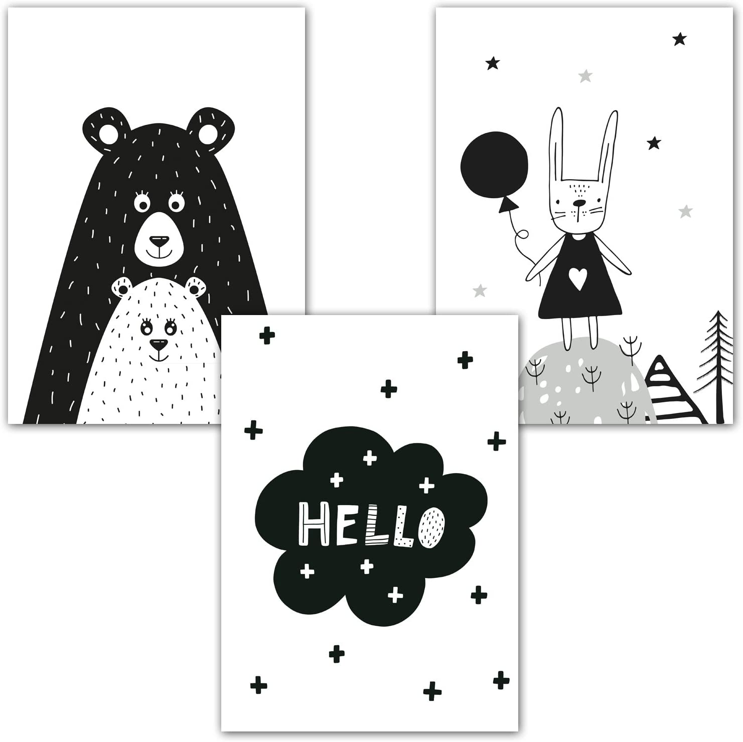 Scandinavian Style Children/'s Poster Art Print Frechdax Set of 3 A4 Posters for Babies/' or Children/'s Bedrooms without Frame Black//White or Coloured Set-12 Girl Boy