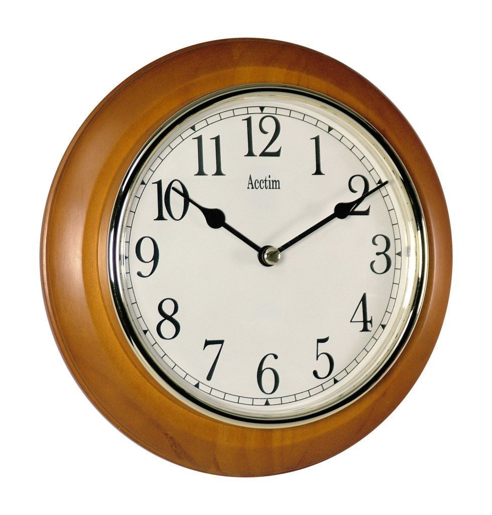 Seiko Dark Wooden Quartzbattery Round Station Wall Clock With Gold