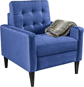 Modern Accent Chair, Kingdely Living Room Arm Chairs, Single Sofa Upholstered Comfy Fabric Mid-Century Modern Furniture for Bedroom Office, Living Room, Blue