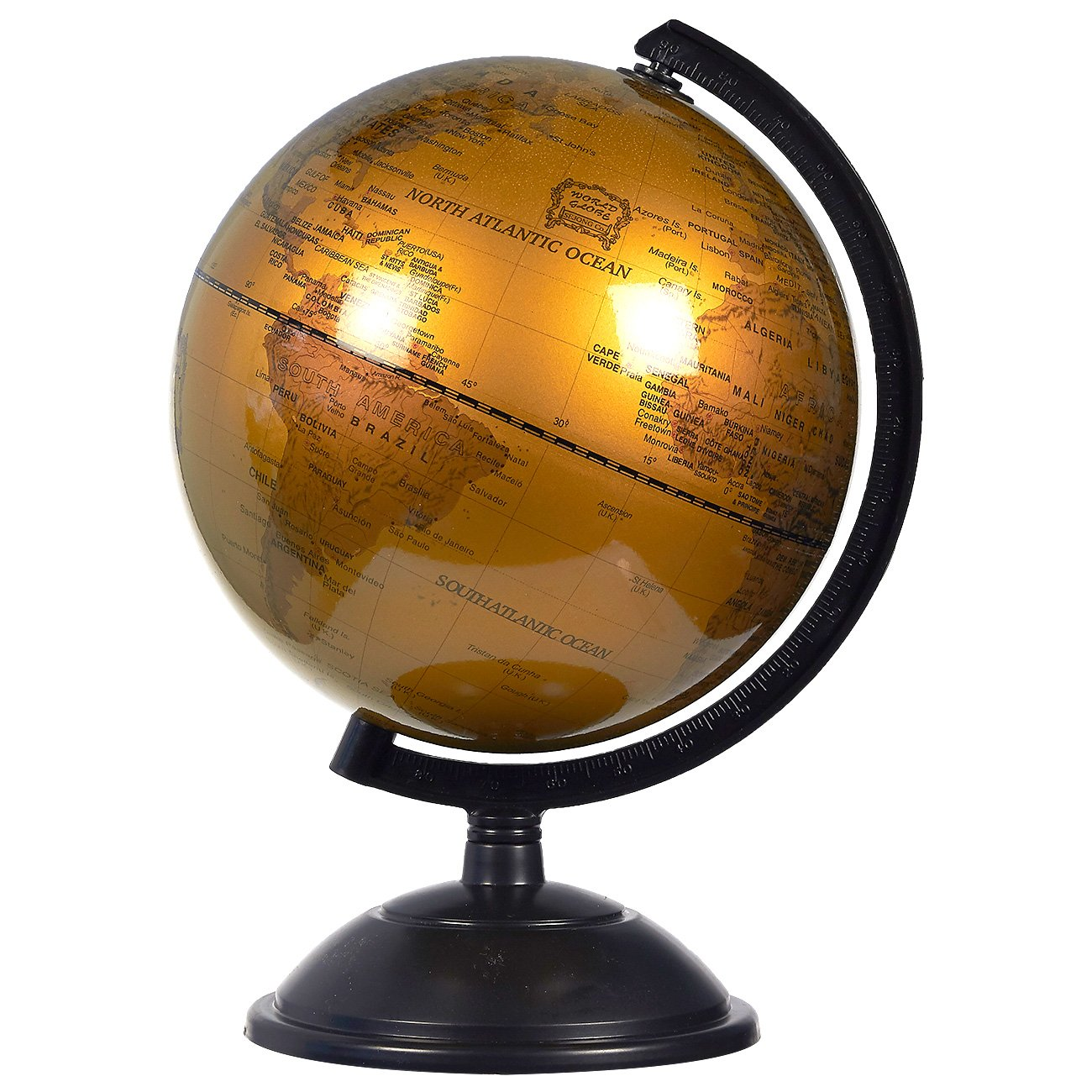 World Globe - 7-inch Bronze Political Globe - Spinning and Rotating Desktop Globe with Stand - Great Educational Gift for Kids, Adults, Teachers