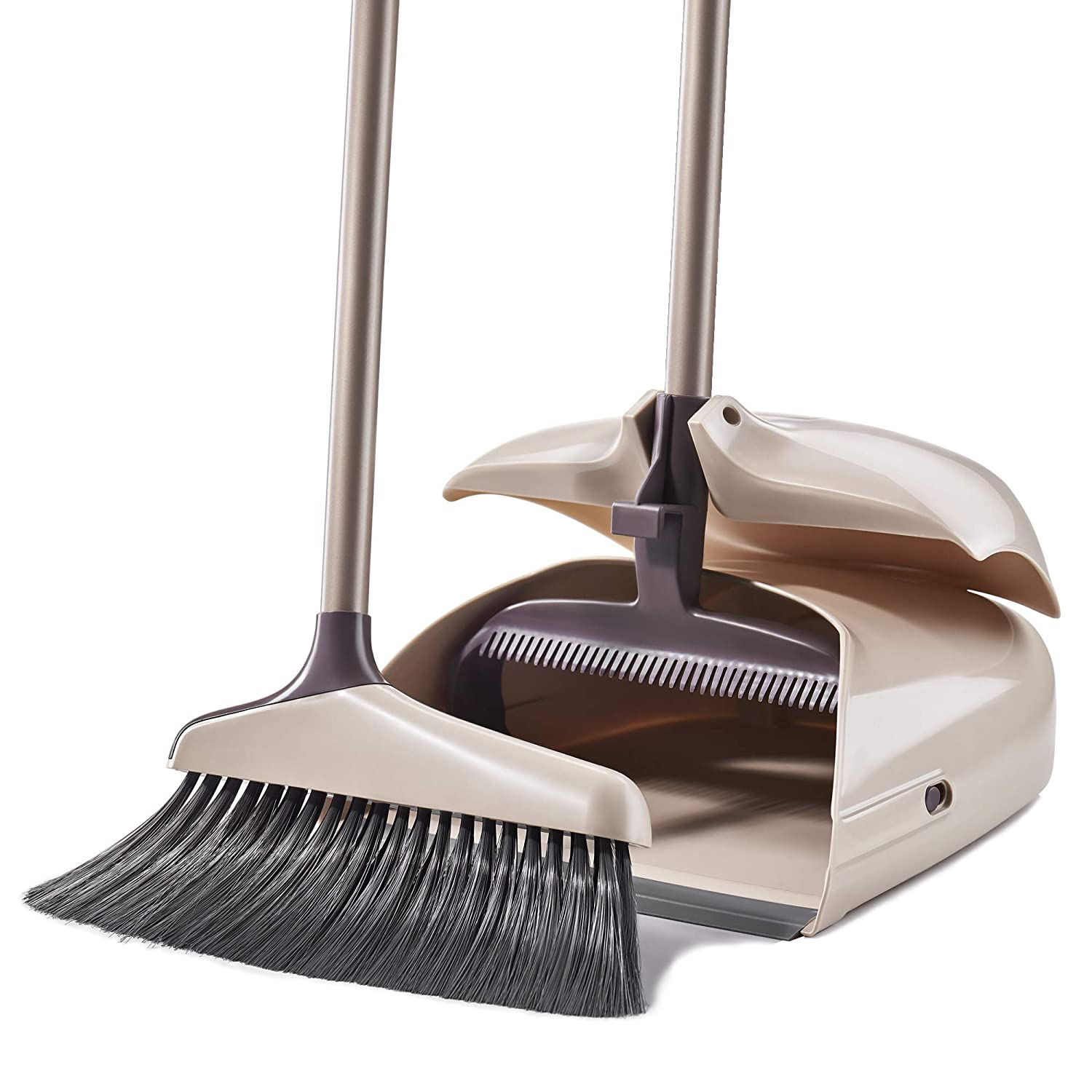 Broom and Dustpan Set - Large Upright Dustpan and Lobby Broom with 32-inch Handles - Dustpan Set for Sweeping Hard Floor Surfaces - Sweeper broom Indoor and Outdoor - Long hand brooms - Beige
