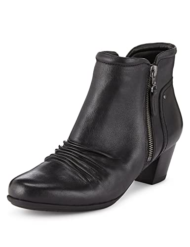 8c3e0577cb08 Womens Ladies Girls Kids Leather Heeled Ankle Zip Up Black Ruched Slouch  Biker Combat Boots with Low Block ...