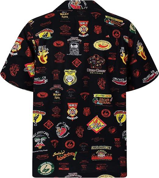 David Carey | Original Camisa Hawaiana | Caballeros | XS - 6XL | Manga Corta | Bolsillo Delantero | Estampado Hawaiano | Policía de Comida Chili| Negro: Amazon.es: Ropa y accesorios