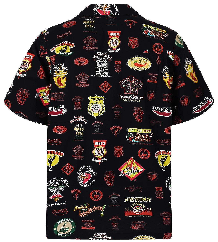 74e4ae2539db David Carey | Hawaiian Shirt | For Men | M - 3XL | Short-Sleeve | Front- Pocket | Hawaiian-Print | Chili Police | black: Amazon.co.uk: Clothing