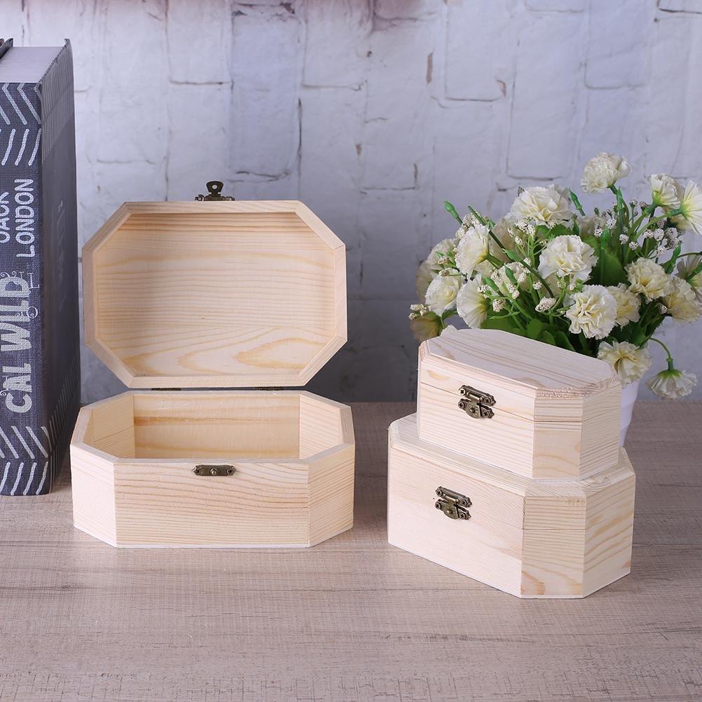 HighPlus 3X Octagonal Wooden Pirate Treasure Chest Wood Storage Decoupage Craft Box by HighPlus (Image #4)