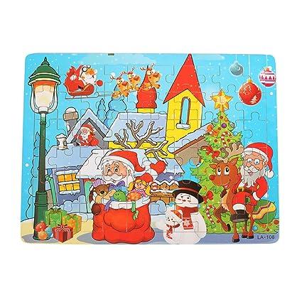 Christmas Jigsaw Puzzles.Amazon Com Toymytoy Christmas Jigsaw Puzzles Cartoon Kids