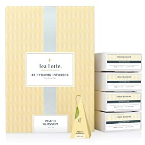 Tea Forte Peach Blossom Event Box Bulk Pack, 48 Handcrafted White Tea Pyramid Infuser Bags