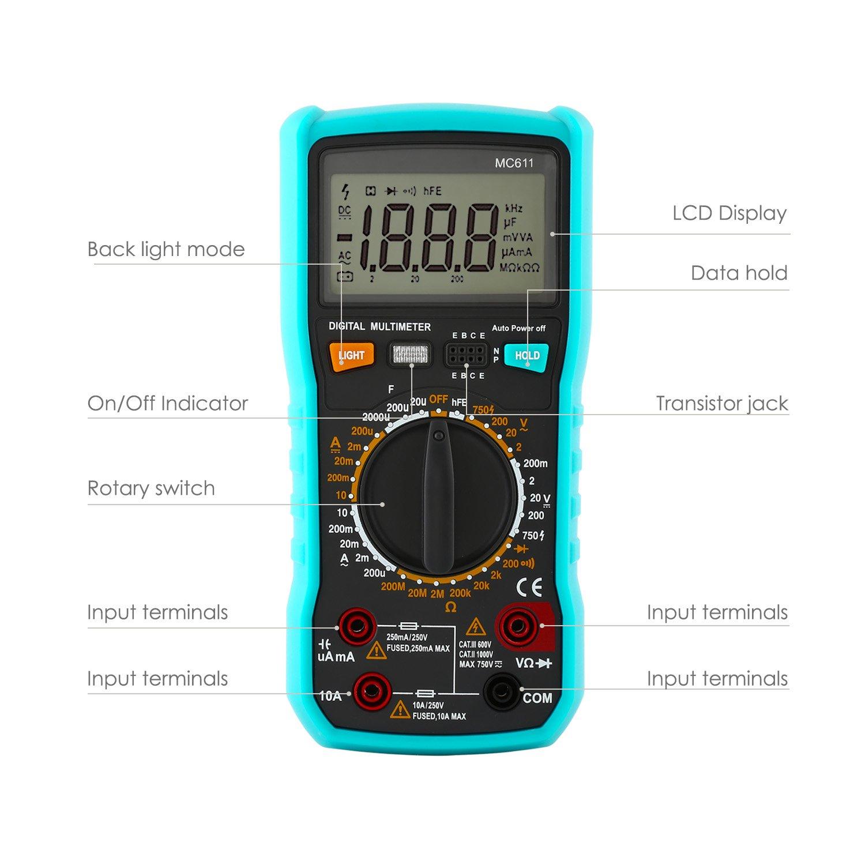 amzdeal Digital Multimeter (Messung von Spannung, Strom, Widerstand ...