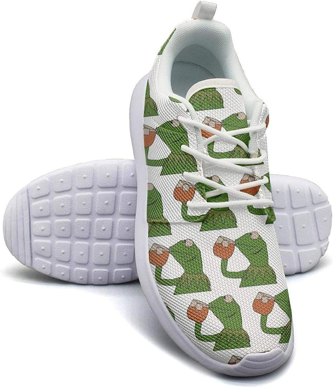 Mens Roshe One Two Lightweight funny green frog sipping tea Stylish Cross-Trainer Mesh Shoes