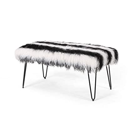 Awe Inspiring Amazon Com Louise Faux Fur Bench With Hairpin Legs Black Squirreltailoven Fun Painted Chair Ideas Images Squirreltailovenorg