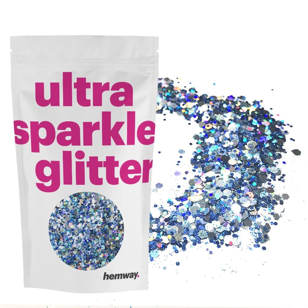 Hemway Silver Blue Ice Holographic Mix Glitter Chunky Multi Purpose Dust Powder Arts & Crafts Wine Glass Decoration Weddings Flowers Cosmetic Face Eye Body Nails Skin Hair Festival 100g
