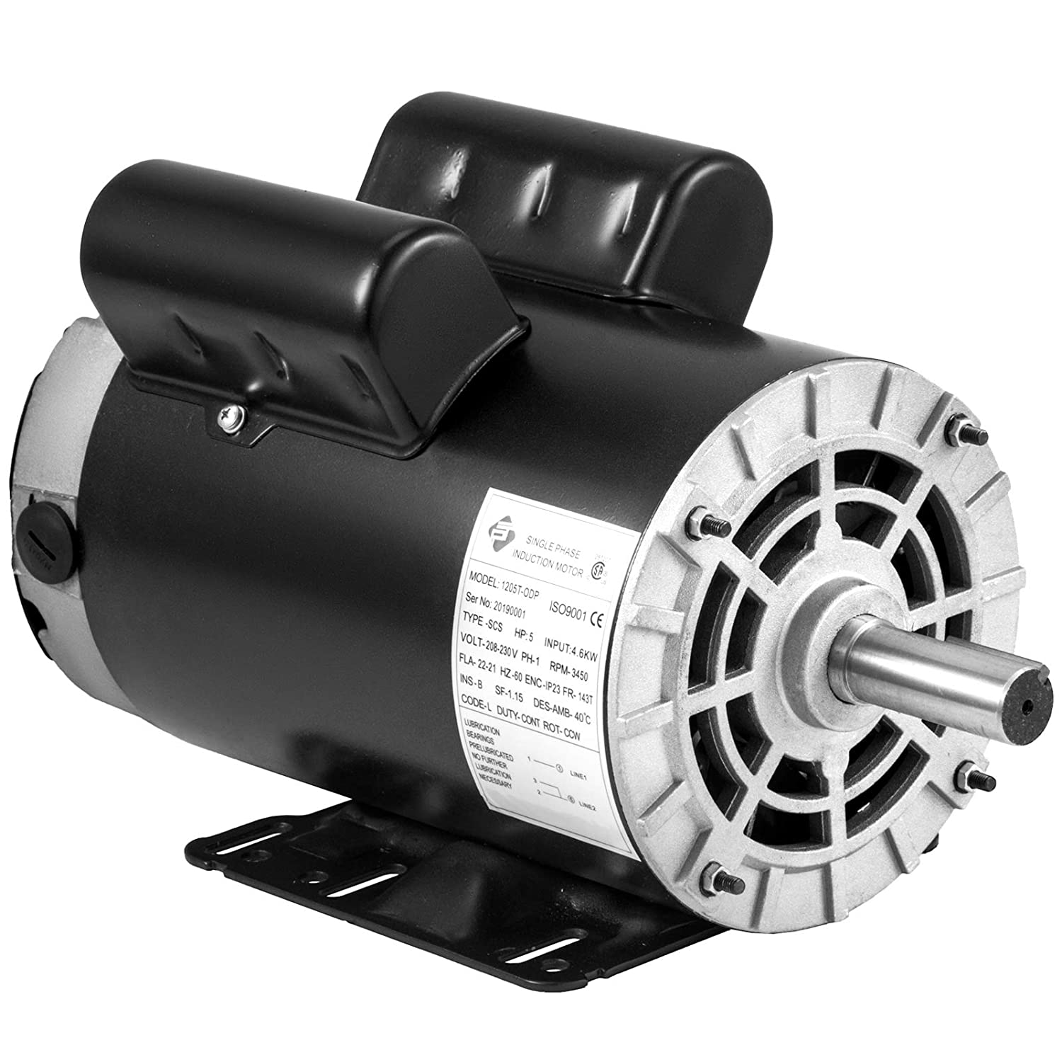 Mophorn Electric Motor 5Hp Single Phase Motor 3450 RPM 60Hz AC motor 143T Frame Air Compressor Motor 230V Suit for Agricultural Machinery and General Equipment