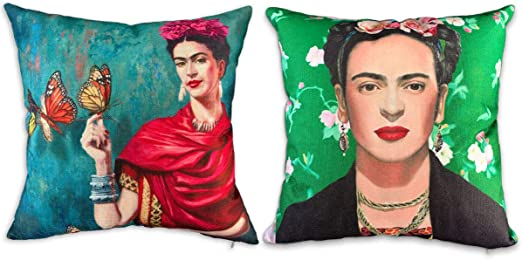 Set Of 2 Decorative Throw Pillow Covers For Couch Sofa Bed Oil Painting Frida Ka