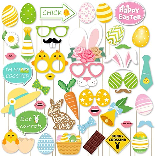 Easter Decorations Kit Sayala 44pcs Easter Photo Booth Props Colorful Egg Bunny for Festival Party Supplies